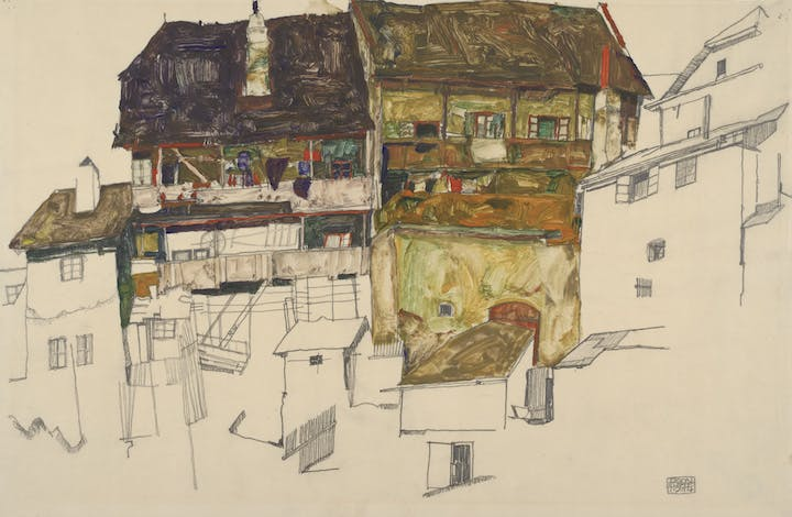 Old Houses in Český Krumlov (1914), Egon Schiele. Courtesy of Albertina, Vienna and Museum of Fine Arts, Boston