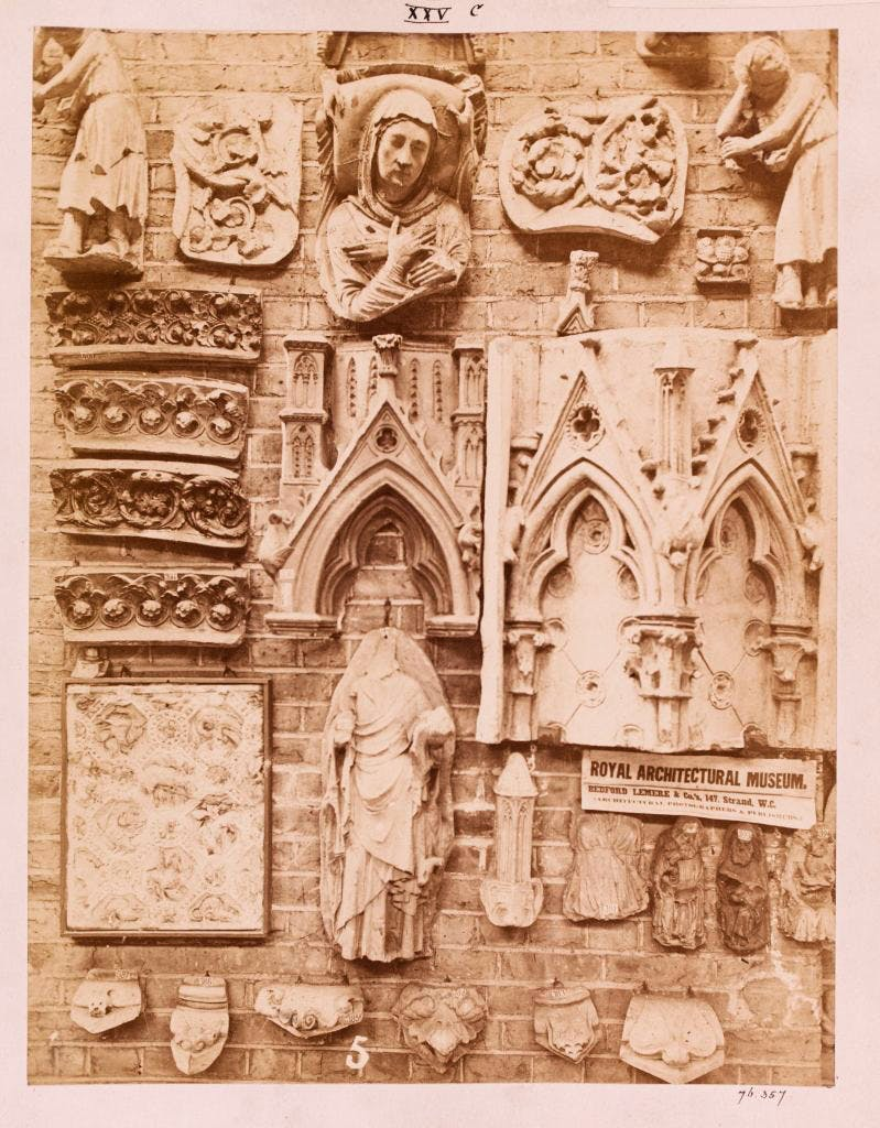 Photograph from c. 1872 of casts in the Royal Architectural Museum, London, including figures and canopies from Notre Dame, Paris, taken by Bedford Lemere & Co., Victoria and Albert Museum, London