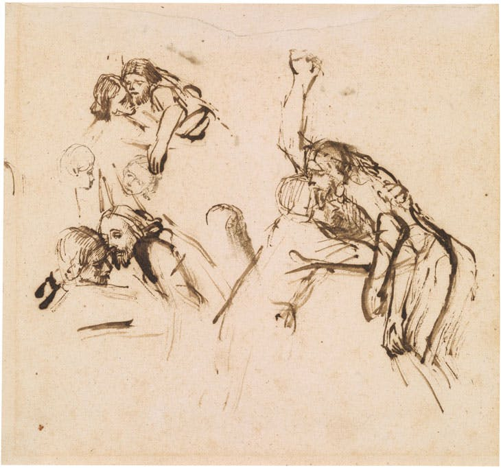 Three Studies for a Descent from the Cross (c. 1654), Rembrandt van Rijn. Thaw Collection, Morgan Library & Museum, New York