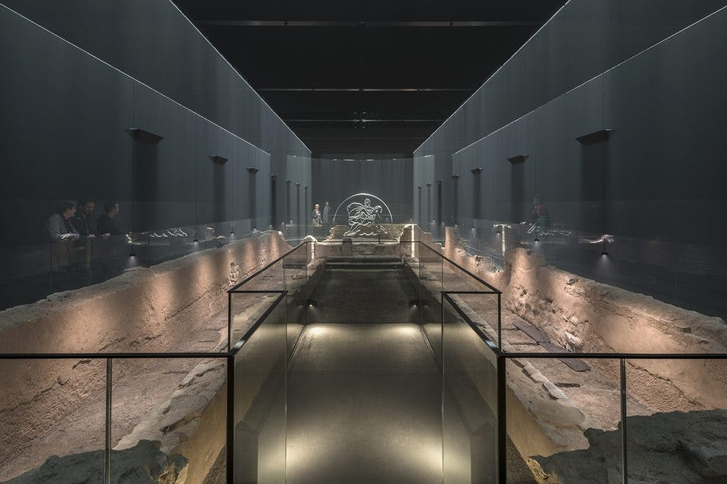 Remains of the Temple of Mithras in the London Mithraeum Bloomberg Space, Photo: James Newton