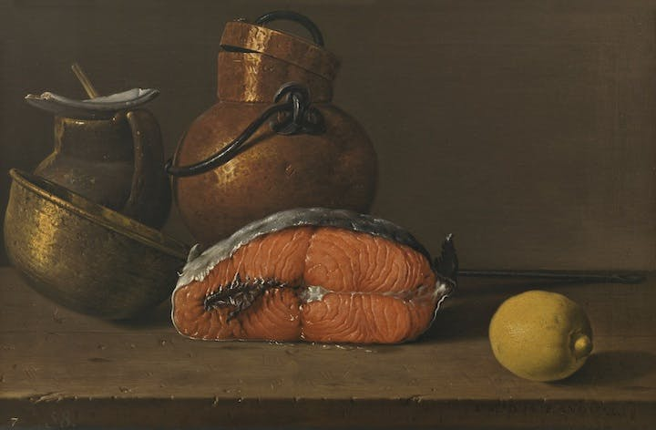 Still Life with Salmon, Lemon and Three Vessels (1772), Luis Egidio Meléndez. © Museo Nacional del Prado