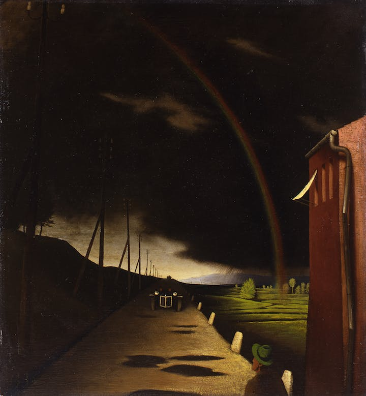 Landscape with Rainbow (1930), Franz Sedlacek. © University of Applied Arts Vienna, Collection and Archive