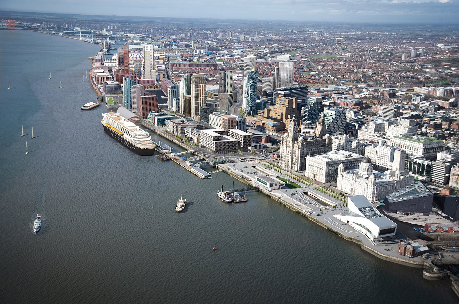 A rendering of how the waterfront might look after the planned Liverpool Waters redevelopment