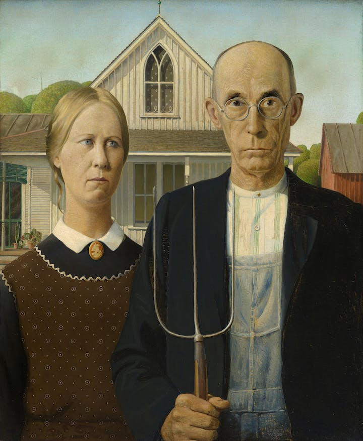 American Gothic (1930), Grant Wood. © Figge Art Museum, successors to the Estate of Nan Wood Graham/Licensed by VAGA, New York, NY. Photograph: Art Institute of Chicago/Art Resource, NY