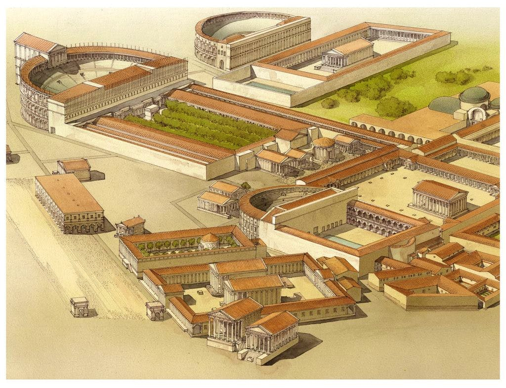 Rendering of the Campus Martius in The Atlas of Ancient Rome, edited by Andrea Carandini, courtesy Princeton University Press