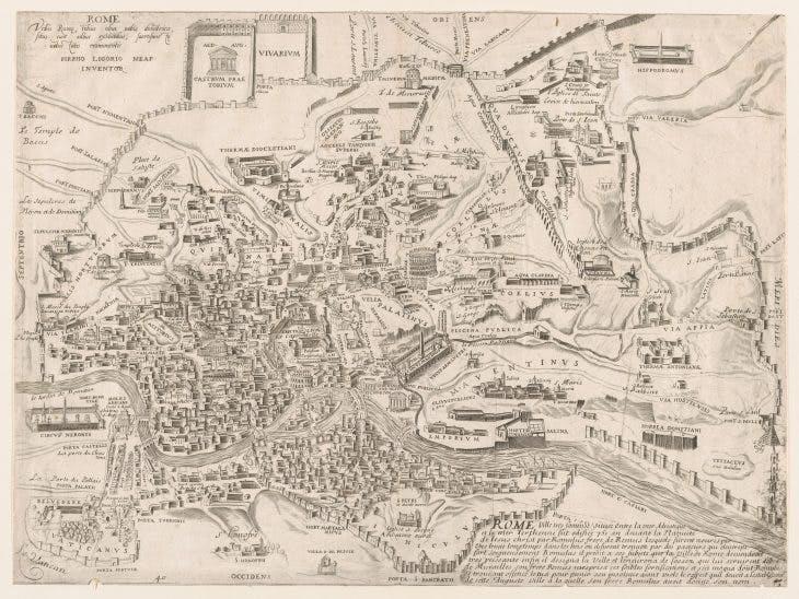 Speculum Romanae Magnificentiae: Plan of Ancient Rome, 16th century, Pirro Ligorio, Metropolitan Museum of Art