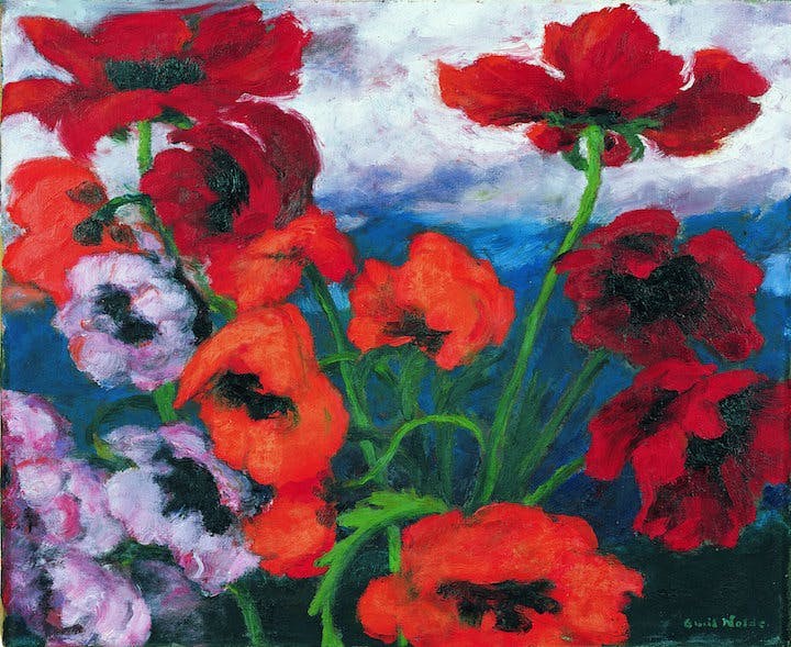 Large Poppies (Red, Red, Red) (1942), Emil Nolde. © Nolde Stiftung Seebüll