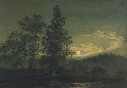 Moonlit Landscape (detail; before 1808), Caspar David Friedrich. Thaw Collection, Morgan Library & Museum, New York