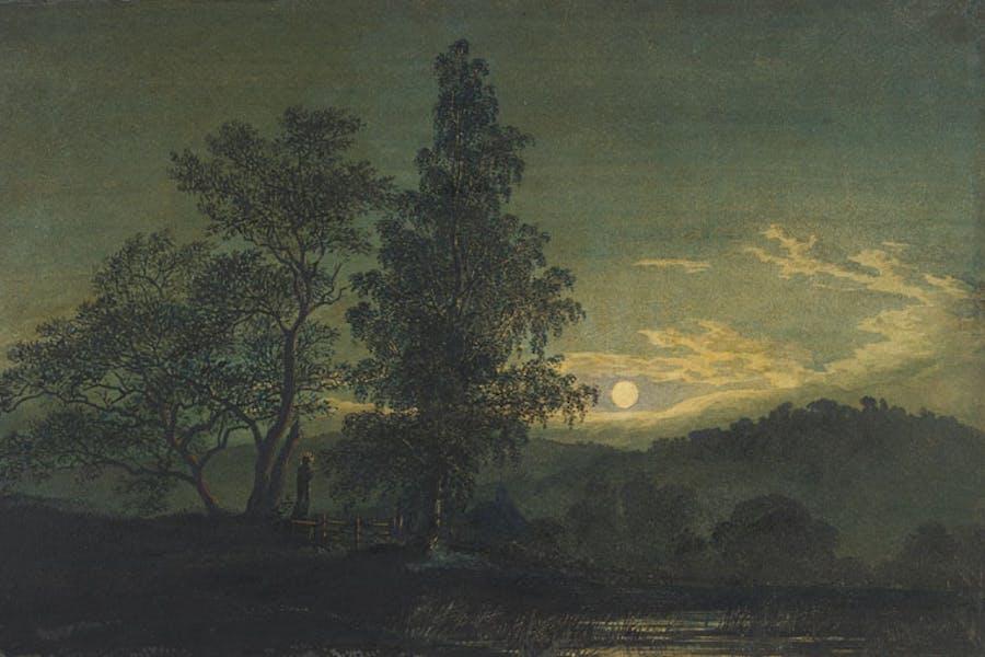 Moonlit Landscape (detail; before 1808), Caspar David Friedrich. Thaw Collection, Morgan Library & Museum, New York