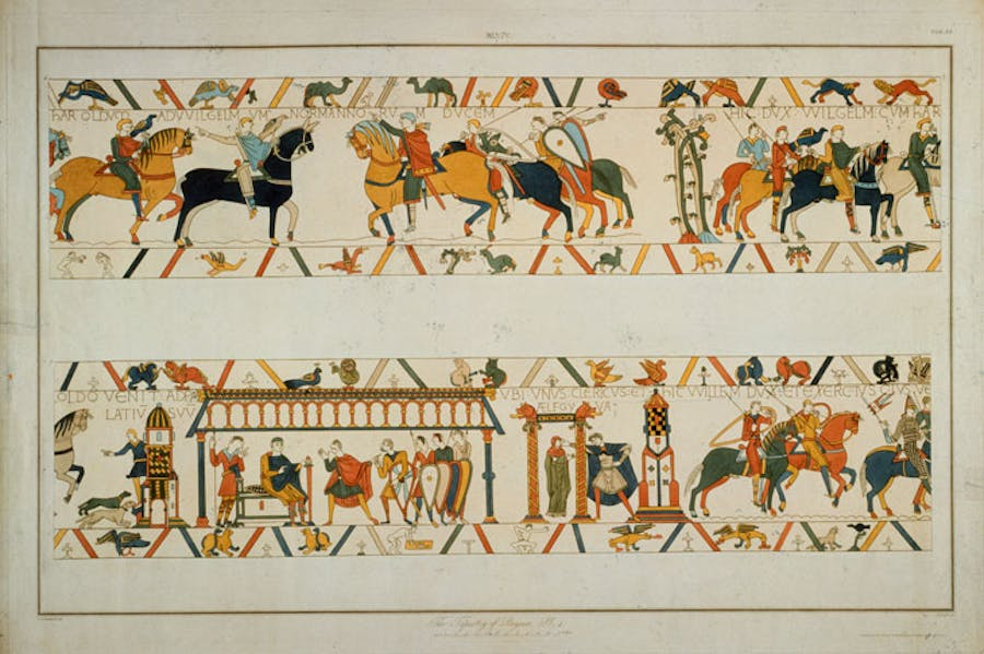 A scene from the Bayeux Tapestry, in which William the Conqueror rescues the future King Harold II from captivity in France and betrothes his daughter Aelfgifu to him.