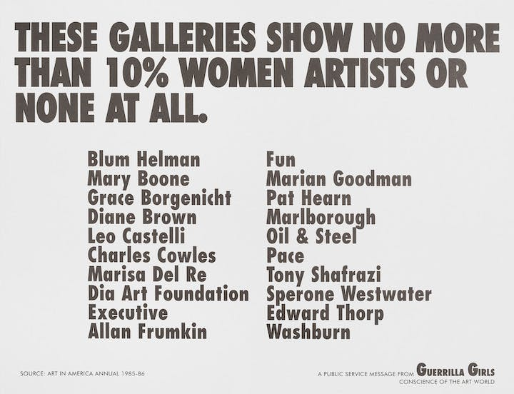 These Galleries show no more than 10% women artists or none at all. (1984-85), Guerrilla Girls. Hirshhorn Museum and Sculpture Garden, Washington DC, Smithsonian Institution. Photo: Cathy Carver