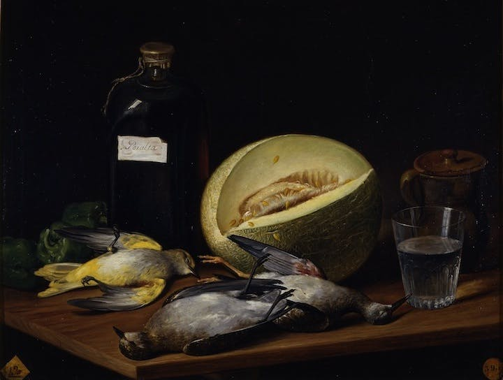 Still life with birds, melon and bottle of Peralta wine (detail; 1807), José López Enguídanos. Museo de la Real Academia de Bellas Artes de San Fernando, Madrid