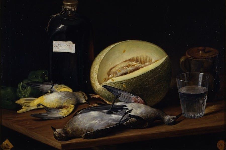 Still life with birds, melon and bottle of Peralta wine (detail; 1807), José López Enguídanos. Museo de la Real Academia de Bellas Artes de San Fernando, Madrid