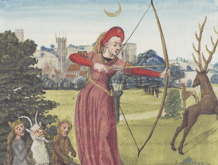 Detail of Diana hunting in Ovid's Metamorphoses. Courtesy of the Royal Bible Library