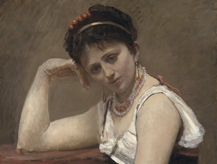 La Lecture interrompue (detail; c.1870), Jean-Baptiste Camille Corot. © The Art Institute of Chicago