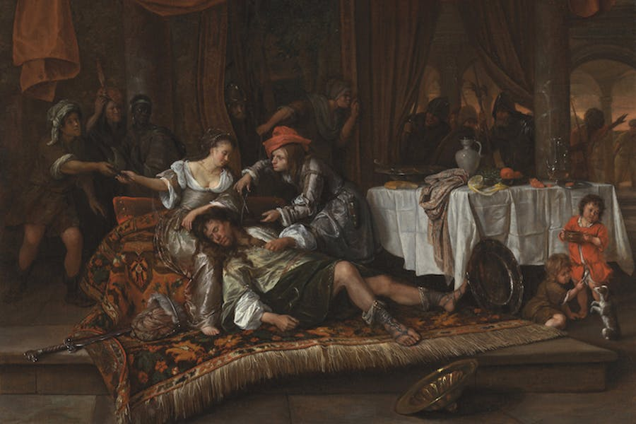 Samson and Delilah (detail; 1668), Jan Steen. Los Angeles County Museum of Art