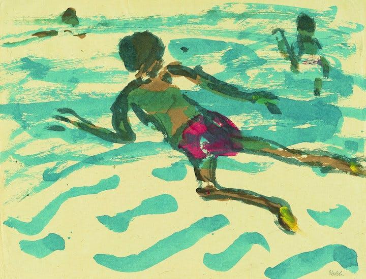 Aboriginal man swimming (detail; 1914), Emil Nolde. © Nolde Stiftung Seebüll