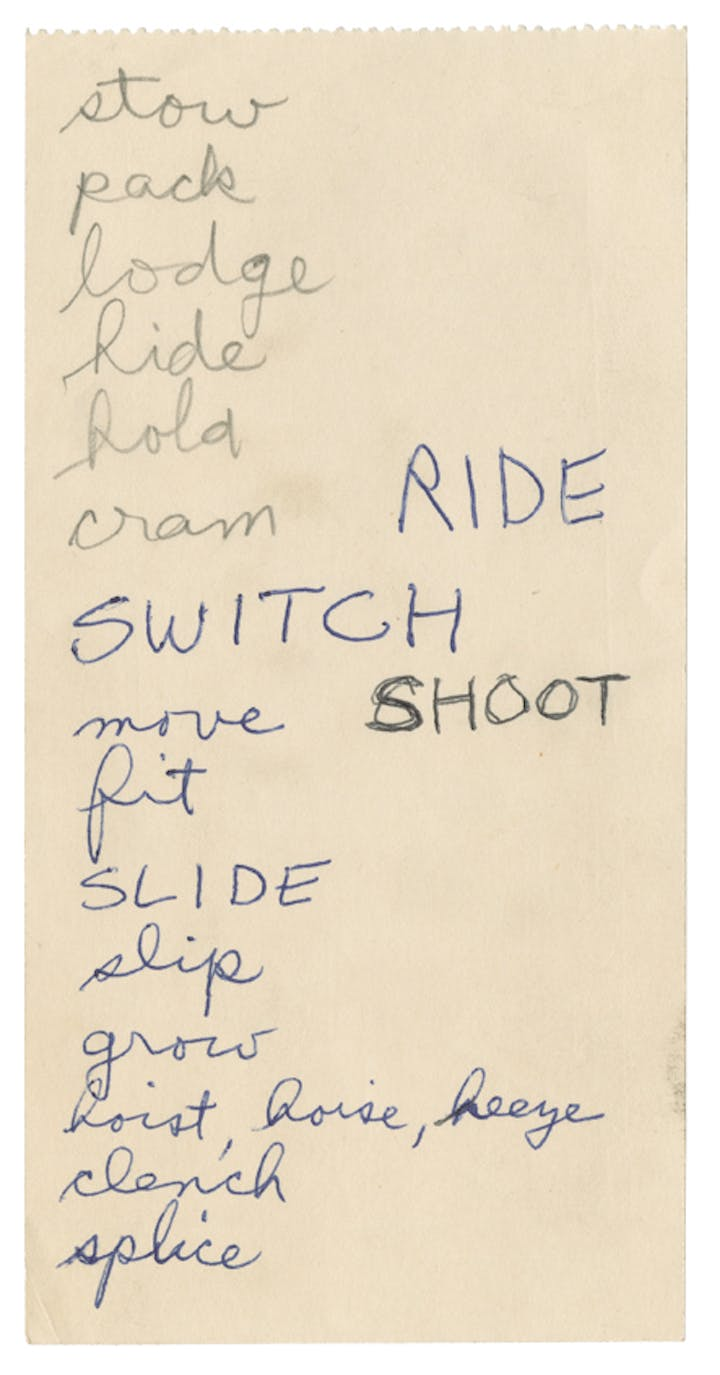 Page from Lee Lozano's notes and ephemera, undated. © The Estate of Lee Lozano. Courtesy Hauser & Wirth