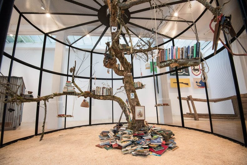View of Mark Dion's 'Library for the Birds of London' (2018) at the Whitechapel Gallery, London, photo: © Jeff Spicer/PA Wire