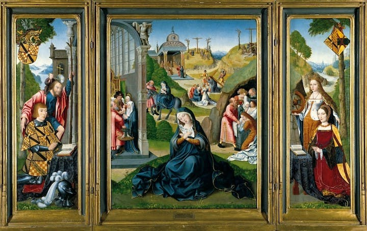The Seven Sorrows of the Virgin Mary or The Ashwellthorpe Triptych (ca. 1519), attributed to the Master of the Legend of the Magdalen. Courtesy of Norfolk Museums Service