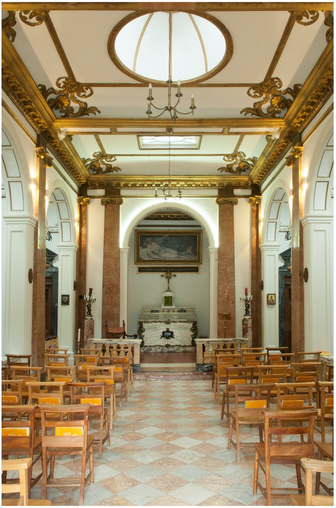 Our Lady of Sorrows, view of the interior looking towards the main altar, with the painting of Christ taken down from the Cross now attributed to Pietra Testa above.