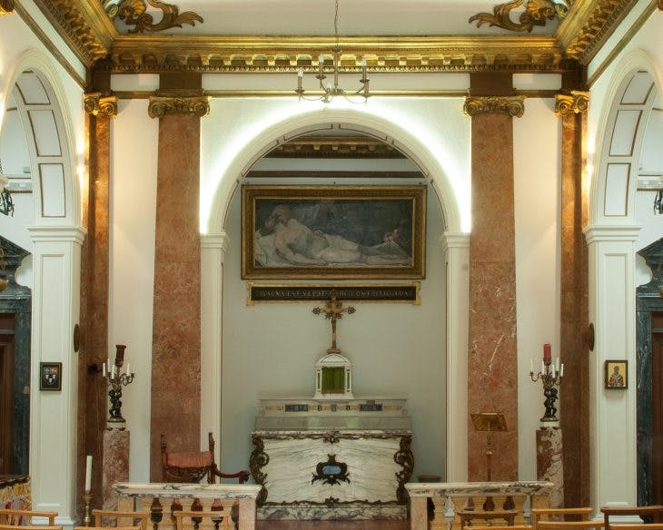 Our Lady of Sorrows, view of the interior looking towards the main altar, with the painting of Christ taken down from the Cross now attributed to Pietra Testa above, Reproduced by permission of the Provost and Fellows of Eton College