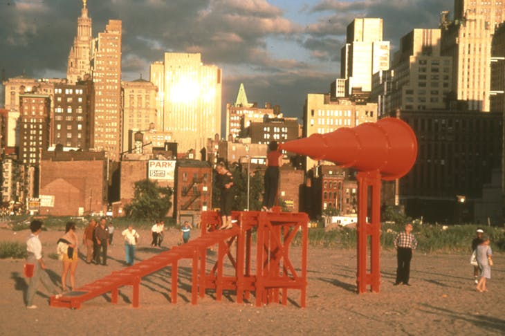 Freedom of Expression National Monument (1984), Laurie Hawkinson, Erika Rothenberg, and John Malpede. Battery Park City landfill.