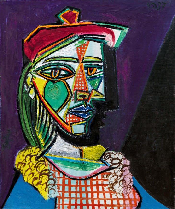 Femme au béret et à la robe quadrillée (Marie-Thérèse Walter) (1937), Picasso.