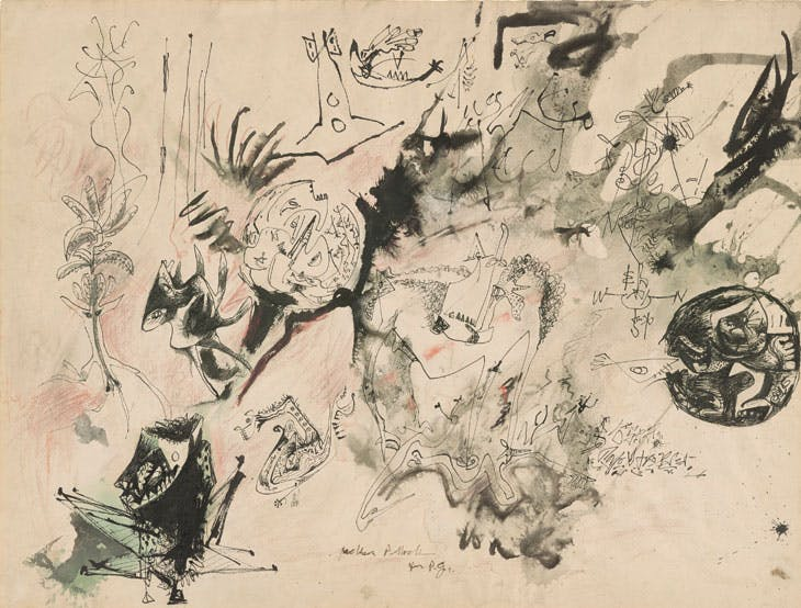 Untitled [Drawing for P.G.] (c. 1943), Jackson Pollock. Thaw Collection, Morgan Library & Museum, New York