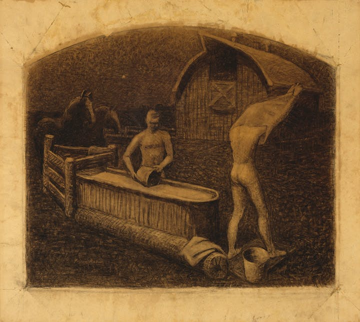 Saturday Night Bath (1937), Grant Wood. © Figge Art Museum, successors to the Estate of Nan Wood Graham/Licensed by VAGA, New York, NY