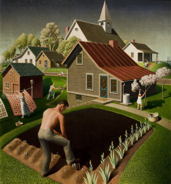 Spring in Town (1941), Grant Wood. © Figge Art Museum, successors to the Estate of Nan Wood Graham/Licensed by VAGA, New York, NY
