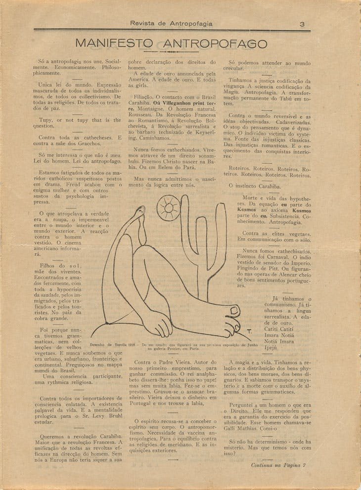 Oswald de Andrade's 'Manifesto antropófago' (Manifesto of Anthropophagy), with drawing by Tarsila do Amaral, in Revista de Antropofagia 1, no. 1 (May 1928):3. The Museum of Modern Art Library.