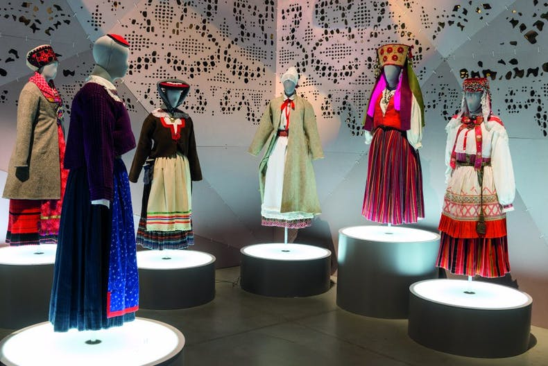 Costume display in the Estonian National Museum, which opened in Tartu in 2016, courtesy Estonian National Museum