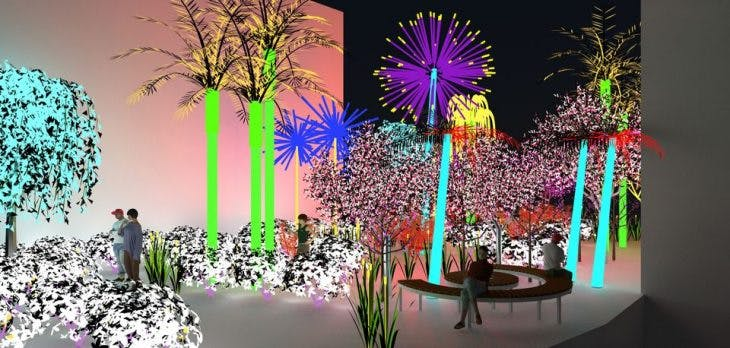 Visualisation for 'Contrary Life: A Botanical Light Garden Devoted to Trees' (2018), by Alia Farid and Aseel AlYaqoub, commissioned by Art Jameel, courtesy the artists