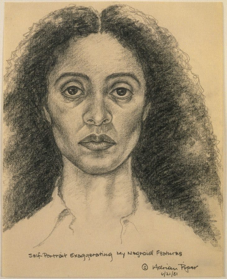Self-Portrait Exaggerating My Negroid Features, Adrian Piper