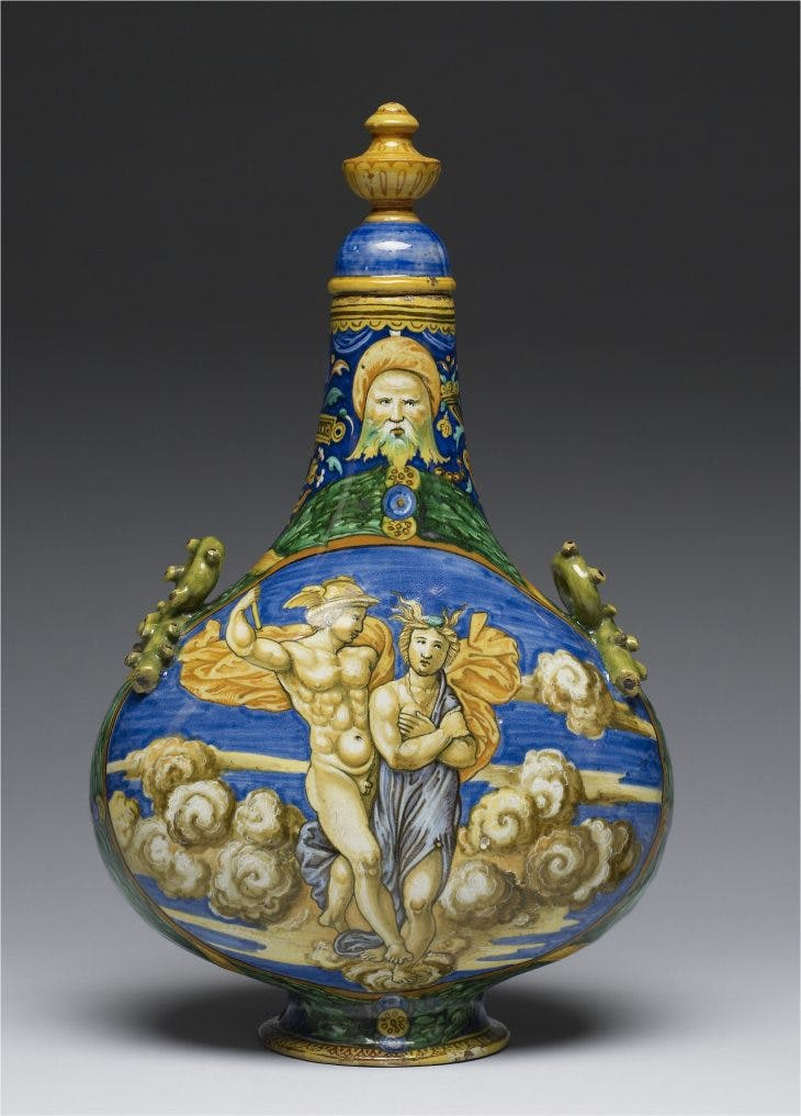 Pilgrim Flask with Mercury and Psyche, Francesco Xanto Avelli