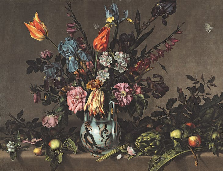 Still Life with Artichokes and a Talavera Vase of Flowers (c. 1650–60), Antonio Ponce.