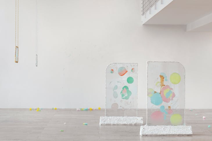 'Karla Black', installation view at Capitain Petzel, Berlin, 2018.