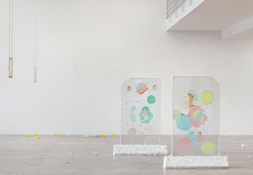 'Karla Black', installation view at Capitain Petzel, Berlin, 2018.