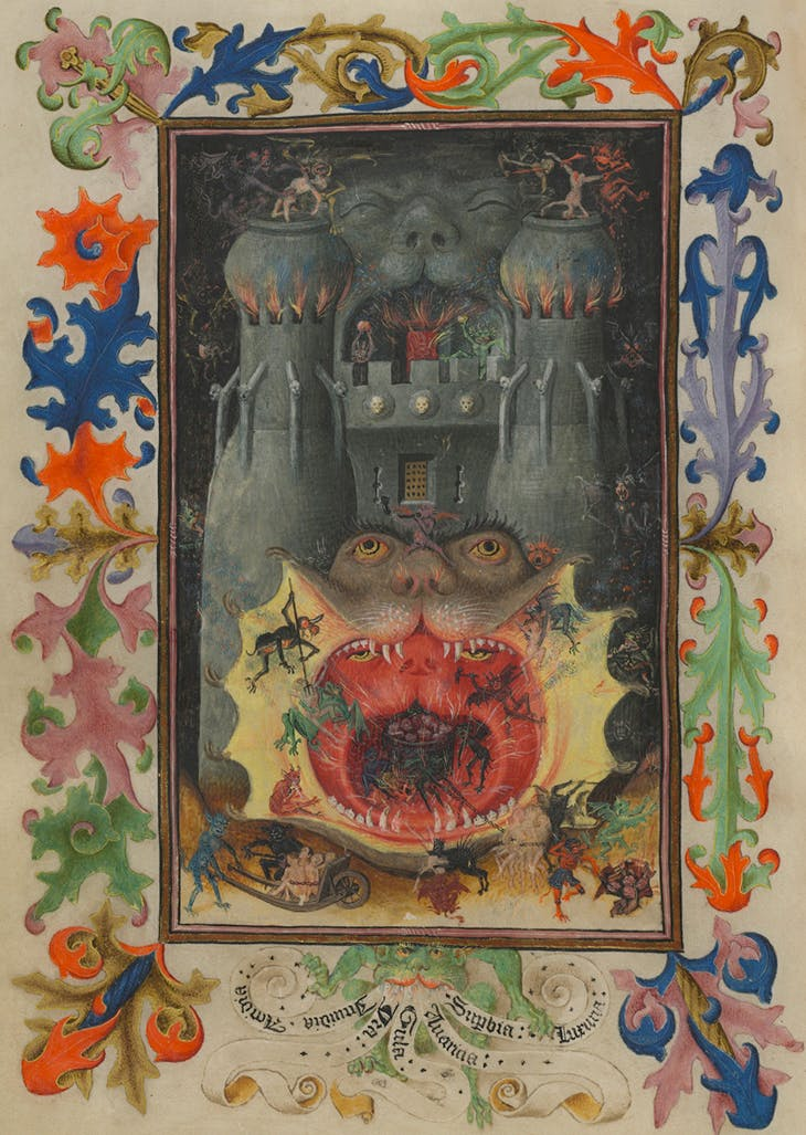 Hell, Hours of Catherine of Cleves (c. 1440), illuminated for Catherine of Cleves, duchess of Guelders, by the Master of Catherine of Cleves. The Morgan Library & Museum.
