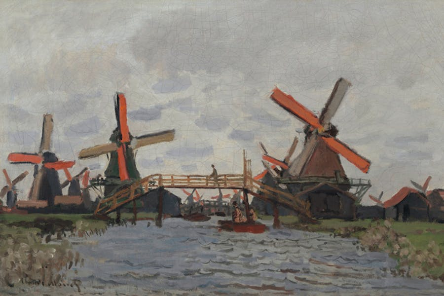 Windmills near Zaandam (1871), Claude Monet.