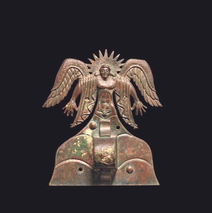 Appliqué depicting the Sun God Usil (500–475 B.C.), Etruscan, made in Vulci, Italy. The J. Paul Getty Museum, Villa Collection, Malibu, California