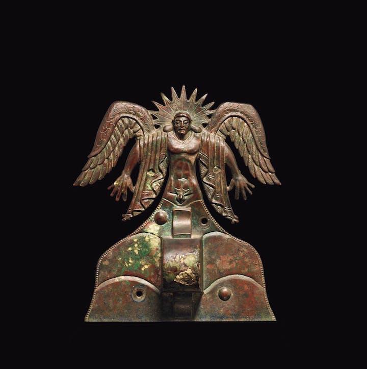 Appliqué depicting the Sun God Usil (500–475 B.C.), Etruscan, made in Vulci, Italy. The J. Paul Getty Museum, Villa Collection, Malibu, California
