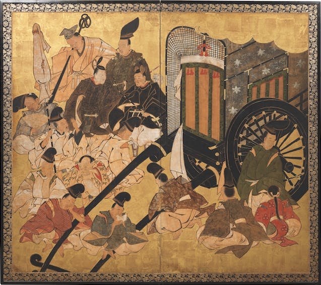 Two-panel screen depicting the Sekiya ('Gatehouse') scene from the Tale of Genji (18th century), probably Kano School. Sydney L. Moss, £75,000
