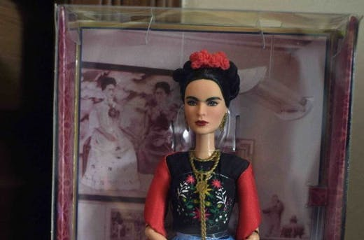 A Barbie doll depicting late Mexican artist Frida Kahlo, is exhibited – alongside other commercial products – at her sister's house in the neighborhood of Coyoacan, Mexico City,on April 19, 2018. Photo: ALFREDO ESTRELLA/AFP via Getty Images