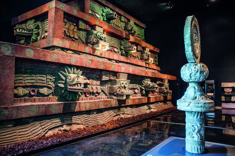Replica of the Temple of the Feathered Serpent in the Teohuacán gallery at the Museo Nacional de Antropología.