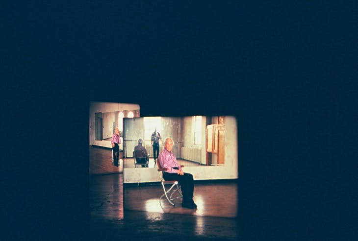 Merce Cunningham performs STILLNESS... (six performances, six films) (2008), Tacita Dean. Installation view.