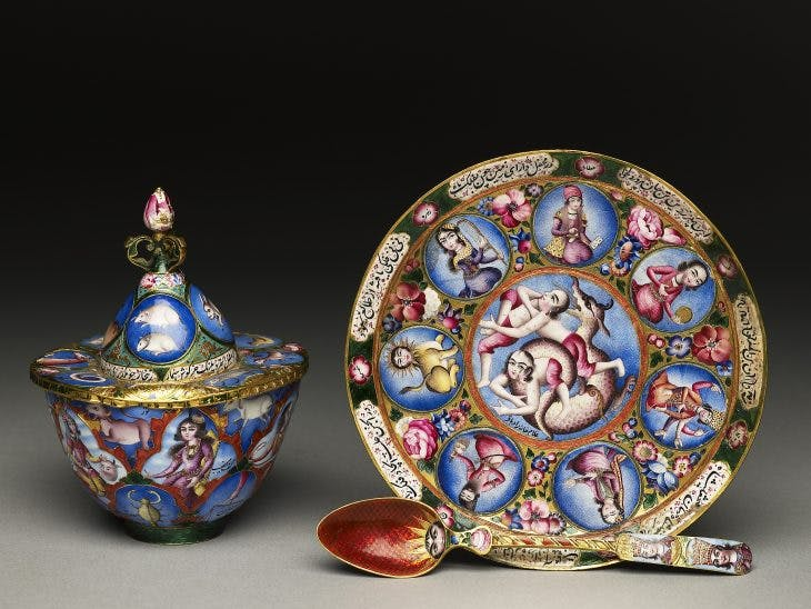 Bowl with lid, dish and spoon of a set signed and dedicated to Fath Ali Shah