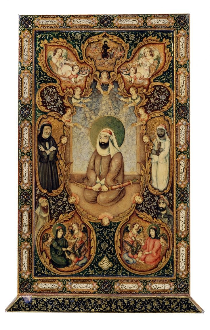 Mirror case with portrait of 'Ali, Hasan and Husayn, Iran