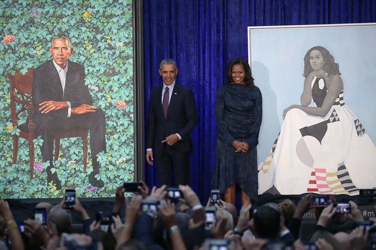 Barack and Michelle Obama at the unveiling ceremony for their portraits at the Smithsonian National Portrait Gallery, Washington D.C., on 12 February 2018.
